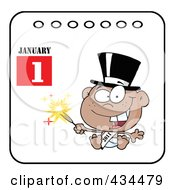Royalty Free RF Clipart Illustration Of A Black New Year Baby Holding A Sparkler On A Calendar by Hit Toon