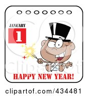 Royalty Free RF Clipart Illustration Of A Black New Year Baby Holding A Sparkler On A Calendar With Text by Hit Toon