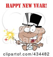 Black New Year Baby Holding A Sparkler With Happy New Year Text