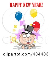 Royalty Free RF Clipart Illustration Of A New Year Baby Holding A Sparkler With Happy New Year Text And Balloons by Hit Toon