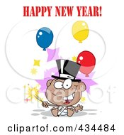Black New Year Baby Holding A Sparkler With Happy New Year Text And Balloons