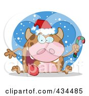 Royalty Free RF Clipart Illustration Of A Christmas Cow Holding A Candycane In The Snow