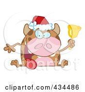 Royalty Free RF Clipart Illustration Of A Christmas Cow Ringing A Bell