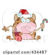 Royalty Free RF Clipart Illustration Of A Christmas Cow Holding A Candycane