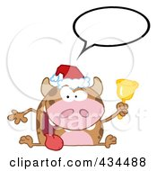 Royalty Free RF Clipart Illustration Of A Christmas Cow Ringing A Bell With A Word Balloon