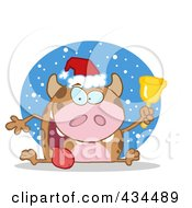 Royalty Free RF Clipart Illustration Of A Christmas Cow Ringing A Bell In The Snow
