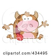 Royalty Free RF Clipart Illustration Of A Happy Cow Waving by Hit Toon