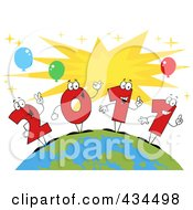 Royalty Free RF Clipart Illustration Of 2011 New Year Characters On A Globe 2