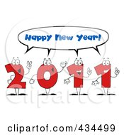 Royalty Free RF Clipart Illustration Of 2011 New Year Characters 3