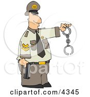 Policeman Holding A Pistol And Handcuffs Clipart