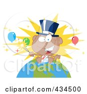 Royalty Free RF Clipart Illustration Of A Black New Year Baby Holding A Sparkler On A Globe 2 by Hit Toon