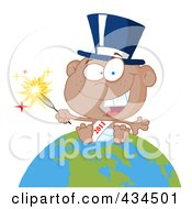Royalty Free RF Clipart Illustration Of A Black New Year Baby Holding A Sparkler On A Globe 1 by Hit Toon