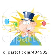 Royalty Free RF Clipart Illustration Of A New Year Baby Holding A Sparkler On A Globe 2 by Hit Toon