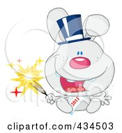 Royalty Free RF Clipart Illustration Of A 2011 New Year Rabbit Holding A Sparkler 2