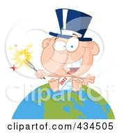 Royalty Free RF Clipart Illustration Of A New Year Baby Holding A Sparkler On A Globe 1 by Hit Toon