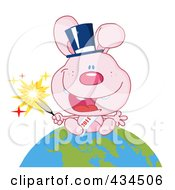 Royalty Free RF Clipart Illustration Of A 2011 New Year Rabbit Holding A Sparkler And Sitting On The Globe 1