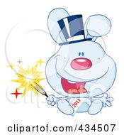 Royalty Free RF Clipart Illustration Of A 2011 New Year Rabbit Holding A Sparkler 3