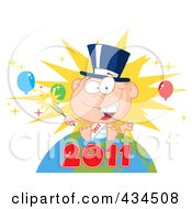 Royalty Free RF Clipart Illustration Of A New Year Baby Holding A Sparkler On A Globe 3 by Hit Toon