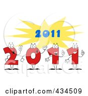 Royalty Free RF Clipart Illustration Of 2011 New Year Characters With A Burst 1