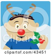 Clipart Illustration Of A Mexican Boy Holding Christmas Holly And Wearing A Red Nose And Antlers
