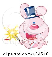 Royalty Free RF Clipart Illustration Of A 2011 New Year Rabbit Holding A Sparkler 1