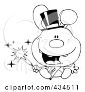 Royalty Free RF Clipart Illustration Of An Outlined 2011 New Year Rabbit Holding A Sparkler