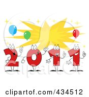 Royalty Free RF Clipart Illustration Of 2011 New Year Characters With A Burst 2