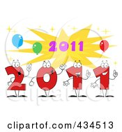 Royalty Free RF Clipart Illustration Of 2011 New Year Characters With A Burst 3