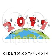 Royalty Free RF Clipart Illustration Of 2011 New Year Characters On A Globe 1