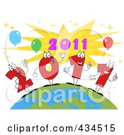 Royalty Free RF Clipart Illustration Of 2011 New Year Characters On A Globe 3