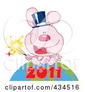 Royalty Free RF Clipart Illustration Of A 2011 New Year Rabbit Holding A Sparkler And Sitting On The Globe 2