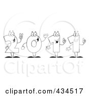 Royalty Free RF Clipart Illustration Of An Outline Of 2011 New Year Characters by Hit Toon