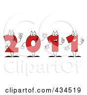 Royalty Free RF Clipart Illustration Of 2011 New Year Characters 1 by Hit Toon