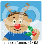 Clipart Illustration Of A Latin American Boy Holding Christmas Holly And Wearing A Red Nose And Antlers