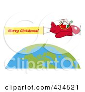 Royalty Free RF Clipart Illustration Of Santa Flying A Plane Banner Over The Globe 2