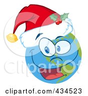 Royalty Free RF Clipart Illustration Of A Christmas Earth Smiling And Wearing A Santa Hat by Hit Toon