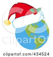 Royalty Free RF Clipart Illustration Of A Christmas Earth Wearing A Santa Hat