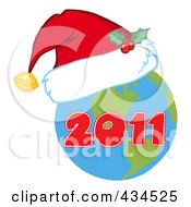 Royalty Free RF Clipart Illustration Of A 2011 New Year Earth Wearing A Santa Hat
