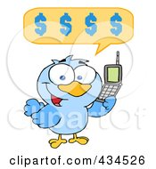 Royalty Free RF Clipart Illustration Of A Bird Calling With A Dollar Balloon by Hit Toon