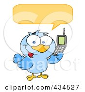 Royalty Free RF Clipart Illustration Of A Bird Calling With A Word Balloon by Hit Toon