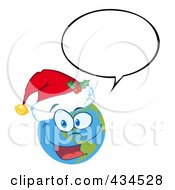 Royalty Free RF Clipart Illustration Of A Christmas Earth Wearing A Santa Hat With A Word Balloon