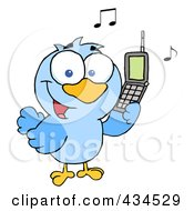Royalty Free RF Clipart Illustration Of A Bird Calling by Hit Toon