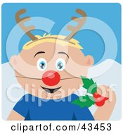 Clipart Illustration Of A Caucasian Boy Holding Christmas Holly And Wearing A Red Nose And Antlers