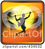 Royalty Free RF Clipart Illustration Of A Sri Lankan Toddy Tapper Against A Sunset Sky by Lal Perera