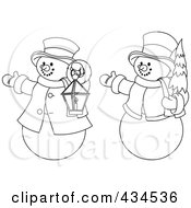 Royalty Free RF Clipart Illustration Of A Digital Collage Of Outlines Of Two Snowmen With A Christmas Tree And Lantern by Pushkin