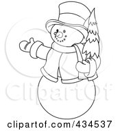 Royalty Free RF Clipart Illustration Of An Outline Of A Snowman Holding A Christmas Tree And Presenting by Pushkin