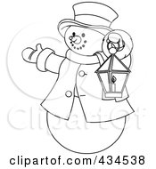 Royalty Free RF Clipart Illustration Of An Outline Of A Snowman Holding A Lantern And Presenting by Pushkin
