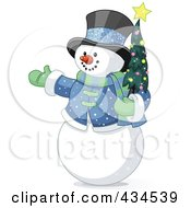 Royalty Free RF Clipart Illustration Of A Snowman Wearing A Top Hat And Holding A Christmas Tree by Pushkin