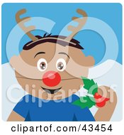 Clipart Illustration Of A Hispanic Boy Holding Christmas Holly And Wearing A Red Nose And Antlers