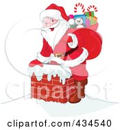 Royalty Free RF Clipart Illustration Of Santa Climbing Into A Brick Chimney With A Sack Full Of Toys
